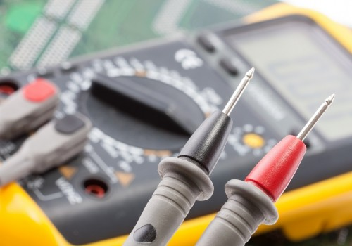 Closeup of probes of the multimeter
